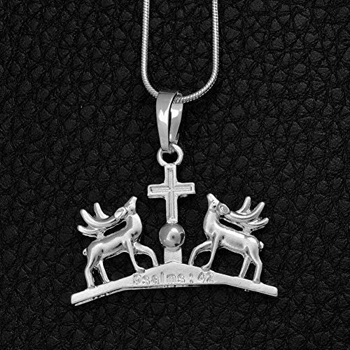 niuziyanfa Co.,ltd Necklaces Gethsemane Church Deer and Cross Pendants Necklaces for Women Silver Color Religion Jewelry Writing Psalms 42