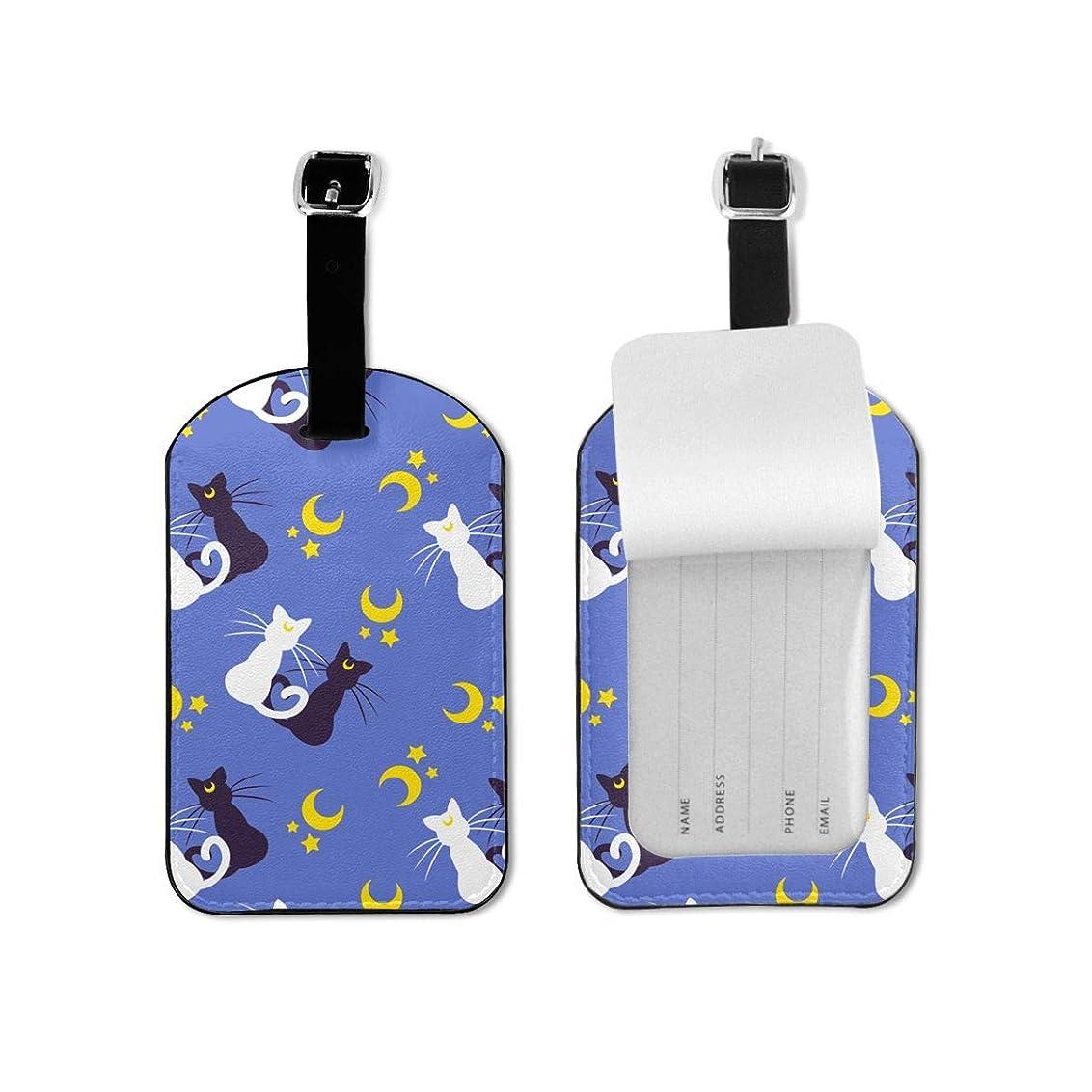 ぐったり何もないバレルネームタグ 荷物タグ 猫と月の星 紛失防止 スーツケースタグ 高級PUレザー かわいい 装飾品 タグ 運動 出張 旅行用 ラゲージタグ バッグ用 旅行手荷物 ラベル