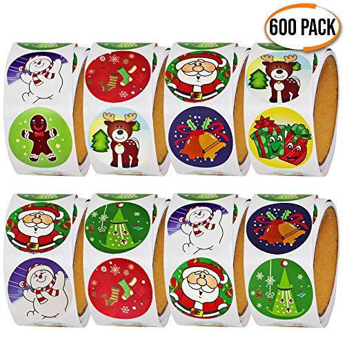 THE TWIDDLERS 600 Pegatinas Navideñas Variadas - 6 Rollos de 100 - Muchos Diseños para Elegir Decoración de Navidad, Regalos de Fiesta