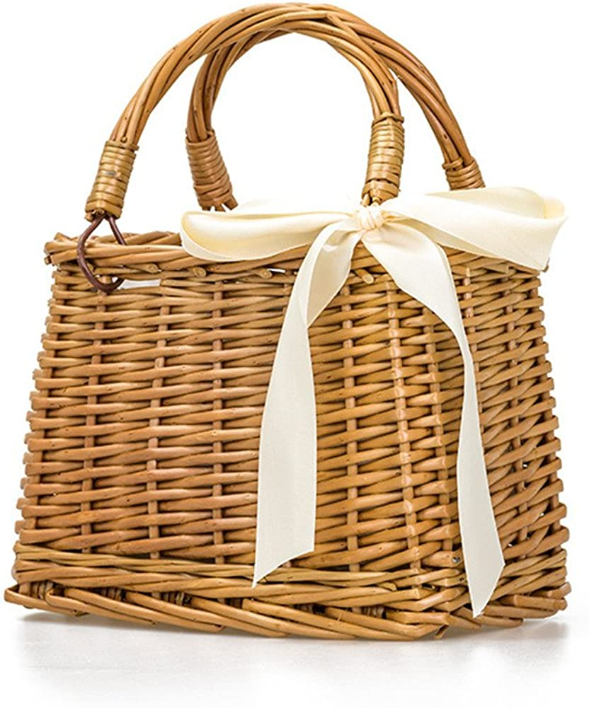 QTMY Bow Rattan Woven Bag Straw Bags Top Handle Handbags Bohemia Style Beach Bag,Beige
