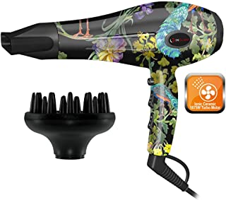 InGlam Hair Dryer, ION Heat & Air Flow 1875 watt Volumizing Finger Diffuser and Concentrator Nozzle Blow Dryer by InGlam Hair Tools (Flower Power)