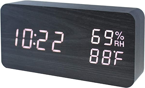 GO HAND Wooden Alarm Clock LED Electronic Digital Temperature And Humidity Table Home Bedroom Travel Clock With Sound Control Function Black Wooden White Light