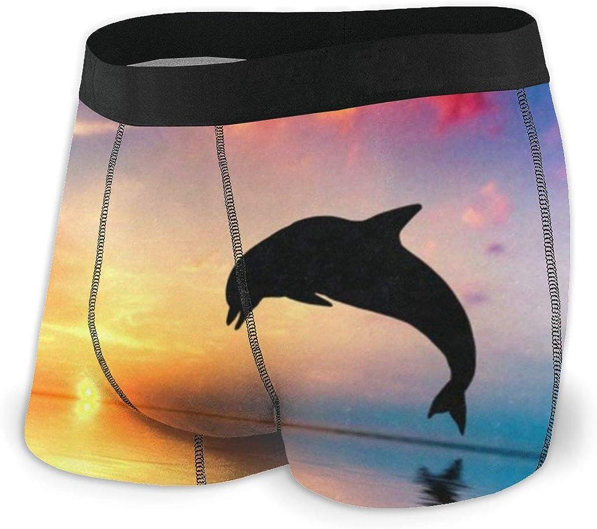 Mens Boxer Briefs Sea Dolphin Breathable Underwear