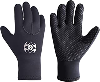 XINNI 3mm Neoprene Wetsuit Gloves Thermal Anti Slip Palm Five Finger Water Winter Sports Gloves for Scuba Diving Snorkeling Surfing Kayaking Paddling Gloves for Youth Men Women Black