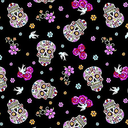 red cherry on black Sugar skull kitty cats red hearts pups. patriotic pickups rainbow hearts 100/% cotton fabric by the yard