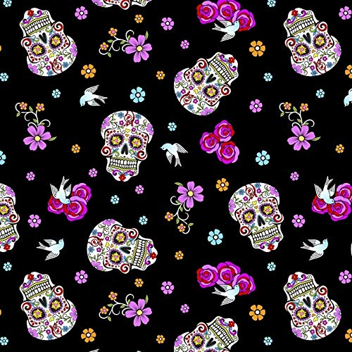 Day of The Dead Skulls Cotton Fabric by The Yard, with Glitter