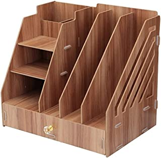 Tmpty Desk Magazine File Folder Holder,DIY Bookshelf,Cardboard Magazine Book Rack,Divider Document Stationery,Desktop Organizer with Drawer