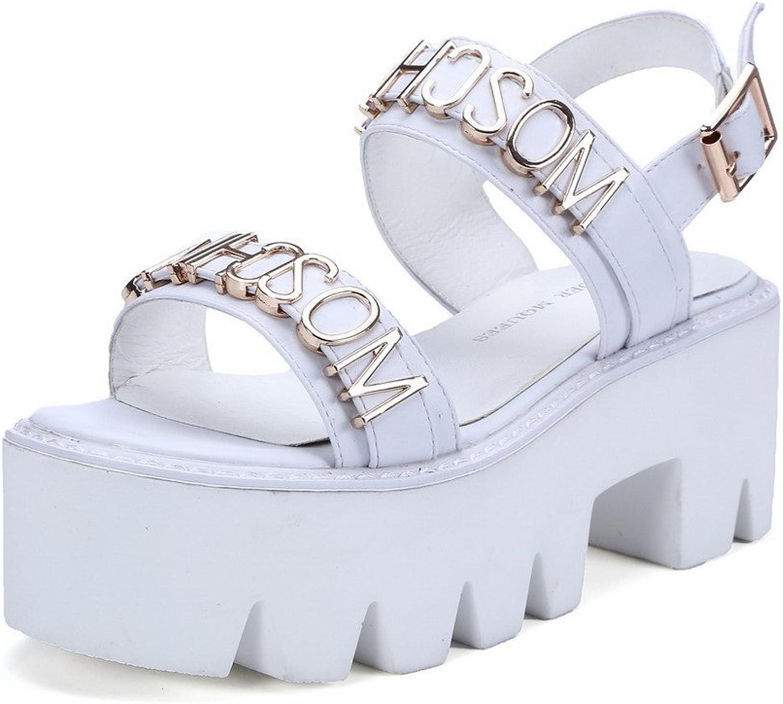 AmoonyFashion Women's Open Toe Kitten Heels Buckle Solid with Metal Piece Sandals