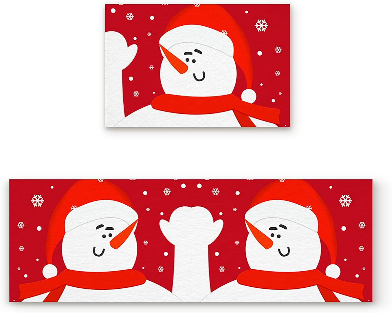 Aomike 2 Piece Non-Slip Kitchen Mat Rubber Backing Doormat Red White Snowman Snowflake Runner Rug Set, Hallway Living Room Balcony Bathroom Carpet Sets (19.7  x 31.5 +19.7  x 63 )