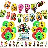 Babioms 38Pcs Super Mario Globos, Super Mario Cumpleaños Pancartas Decoración para Fiestas Adorno de Torta Globo de Látex, para Niños Super Mario Fiesta temática de Decoraciones