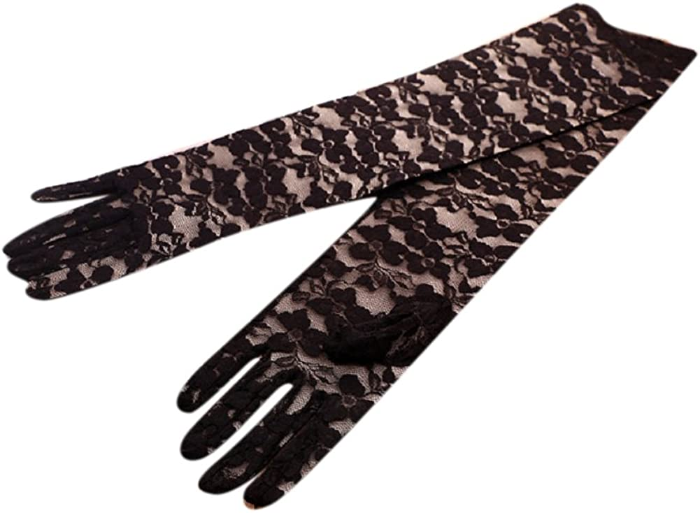 Telamee Floral Long Lace Wedding Gloves Elbow Length Bridal Full Finger Gloves