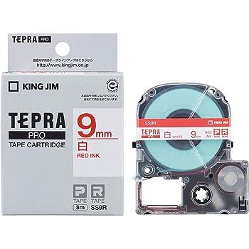 キングジム テープカートリッジ テプラPRO 9mm SS9R 白 赤文字