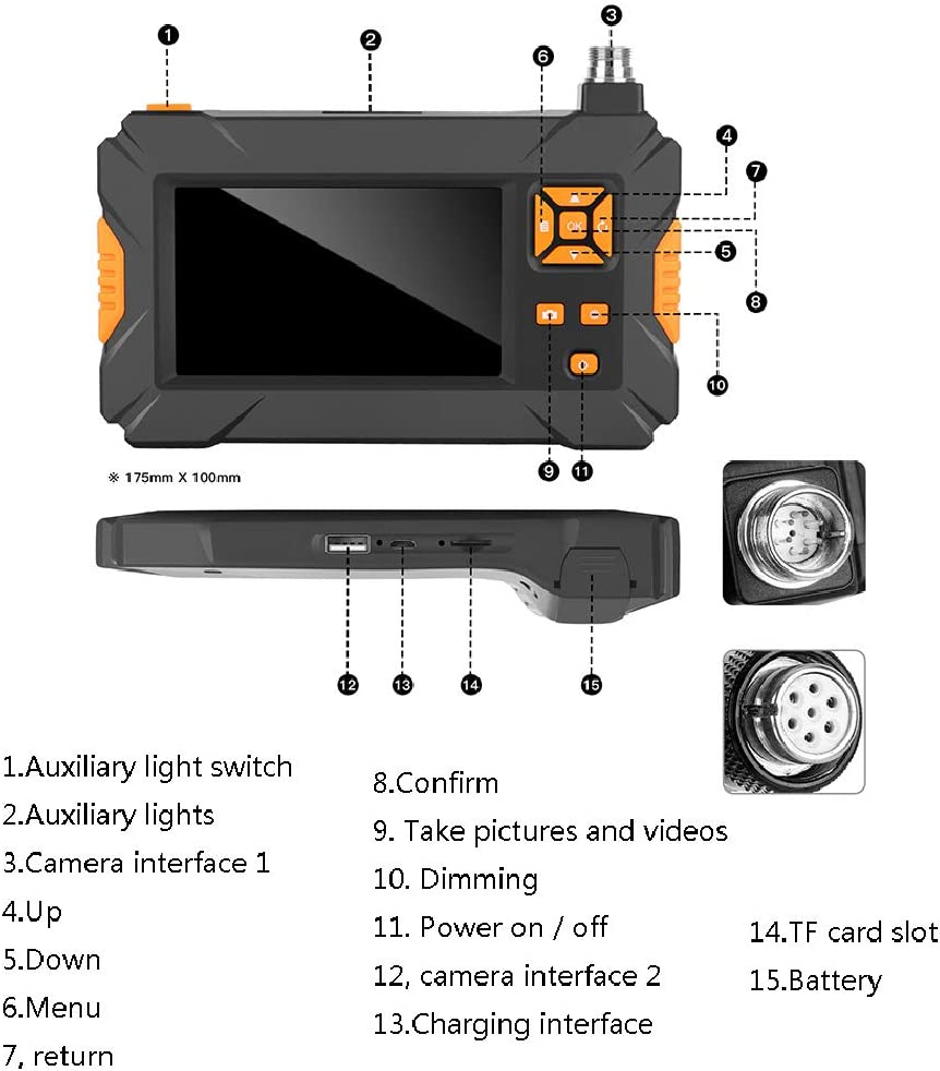 XBAO inspektionskamera Handy,endoskopkamera mit licht wasserdicht,mit 8 Einstellbare LED-Leuchten,mit Bildschirm,4,3 Zoll,Halbsteife Kabel,mit Flexible Pick up Tool Krallengreifer,hohe Aufl/ösung