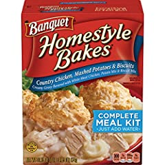 Pack of six, 30.9-ounce boxes (total of 185.4-ounces) A quick and easy meal made in an 8x8 baking dish Mashed potatoes on the bottom, chicken and gravy in the middle, and biscuit mix on the top Bakes into a creamy chicken casserole