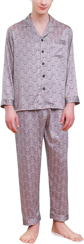 YAOMEI Mens Pyjamas Set Satin Long Nighties PJ Set Sleepwear Nightwear Lingerie Button Pocket Shirt Top Bottoms Pants