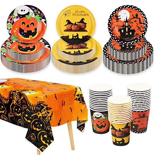 Kederwa 108pcs Halloween Party Tableware, Halloween Paper Plates and Cups with Halloween Party Tablecloth for Happy Halloween Party Supplies