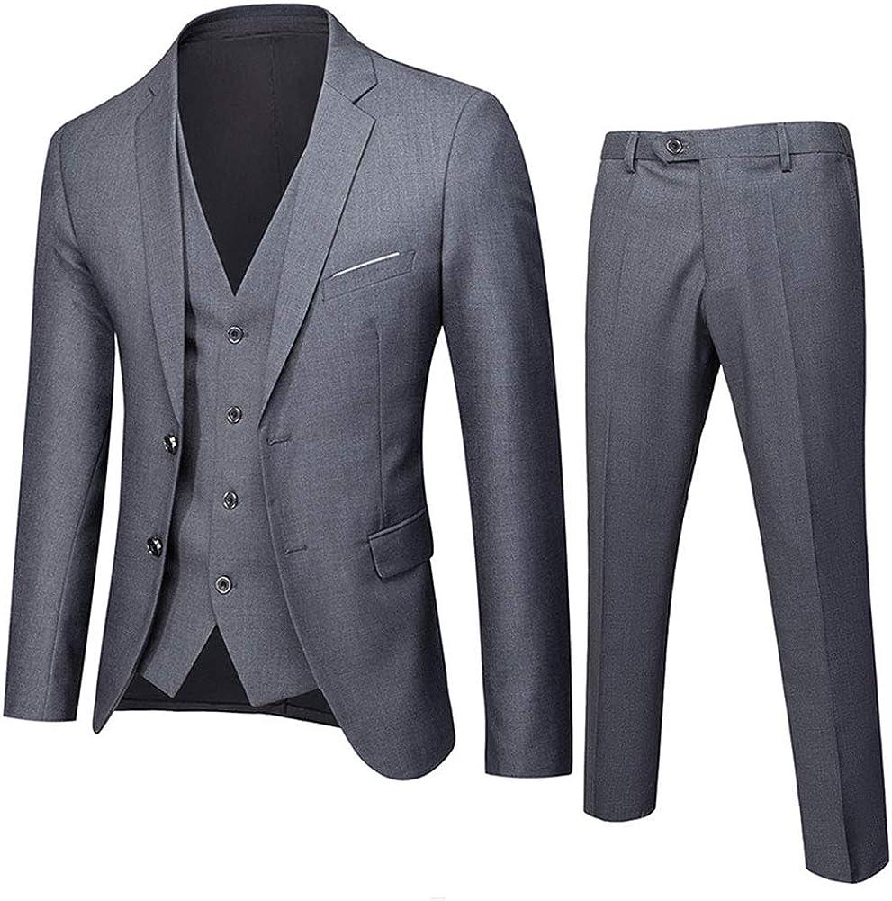 Wemaliyzd Mens 3 Piece Slim Fit Business Suit Single Breasted Vest Pants