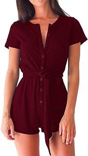 254a012806fb Sunward Women Sexy Button Sleeveless Beachwear Short Rompers Jumpsuits