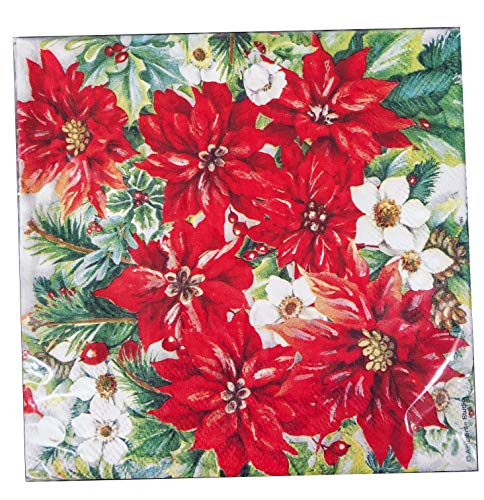 40-ct Red Poinsettia Luncheon Napkins | Christmas Napkins Paper | Christmas Dinner Napkins Paper | Christmas Paper Napkins | Christmas Cocktail Napkins | Decorative Napkins for Decoupage Paper