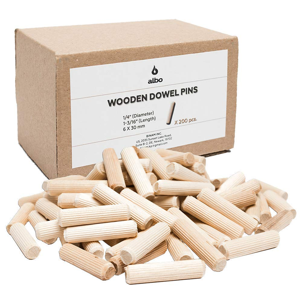 """Set 6mm 8mm 10mm - 350Psc Fluted Wooden Dowel Pins Hardwood Crafts Wooden Dowel Rod Wooden Dowel Assorted Sizes 6 mm 8 mm 10 mm Approx1//4/"""" 5//16/"""" 3//8 1//2 Inch"""