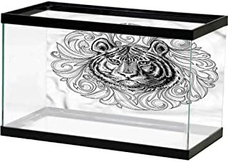 homecoco Image Decor Tiger,Black Outline Hunter Cat Easy Paste