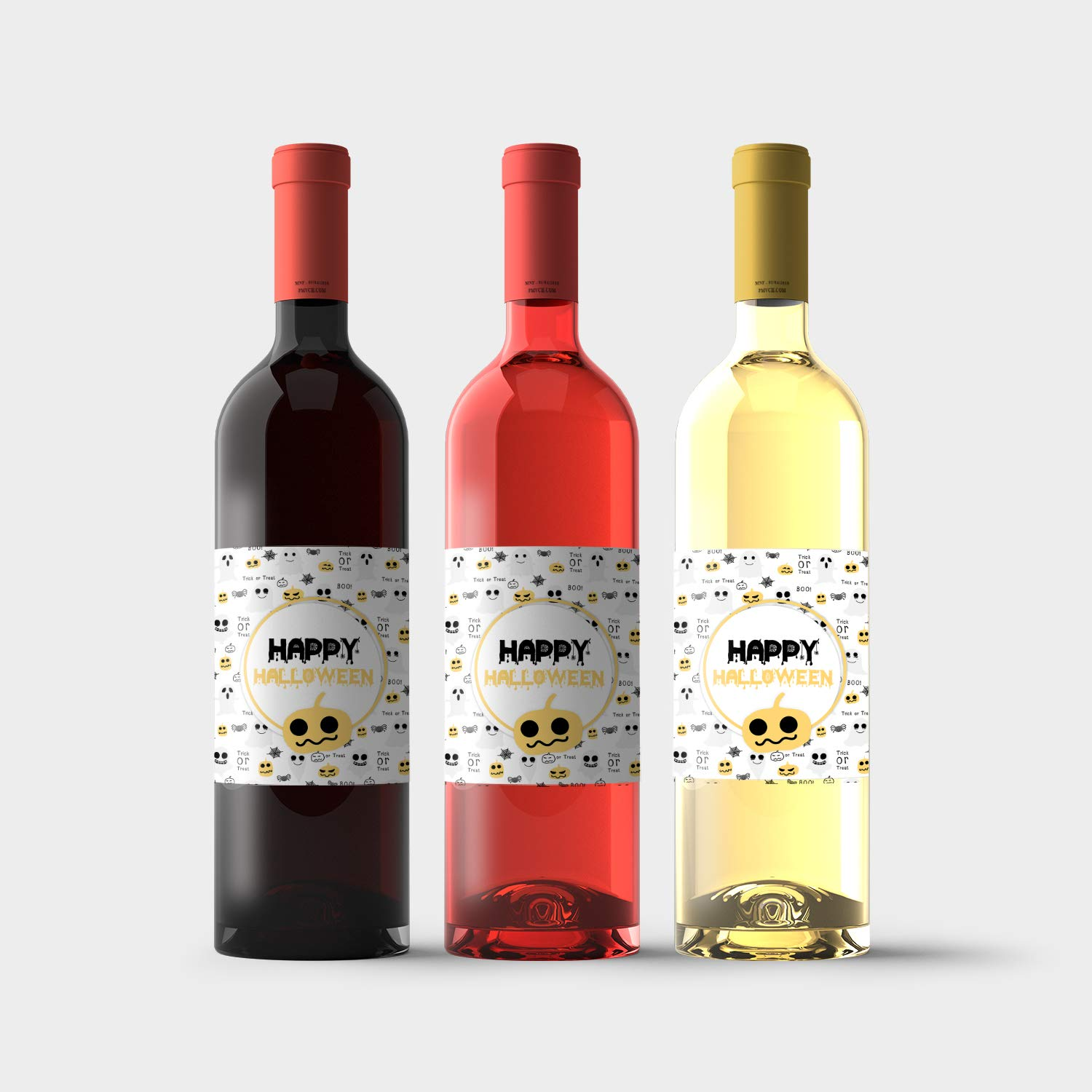 Ghosts and Pumpkins Halloween Wine Labels Courier shipping Oakland Mall free Bottle