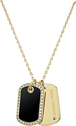 Perfect For Gifting -  Black Onyx, Pave-Accented Dog Tag Pendant Necklace