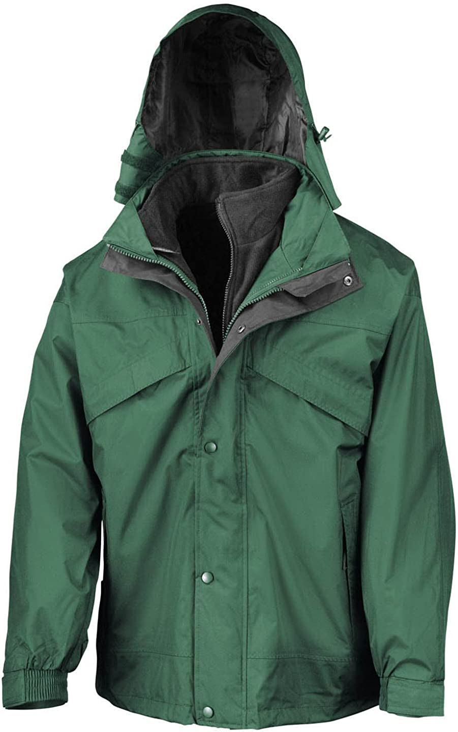Result Mens 3in1 Manufacturer OFFicial shop Zip and Lined Fleece Las Vegas Mall Jacket Clip Waterproof