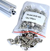 Boeray 2020 Series M5 T Slot Aluminum Profile with Slot 6mm Drop in Nut Tee Nut Pack of 100pcs