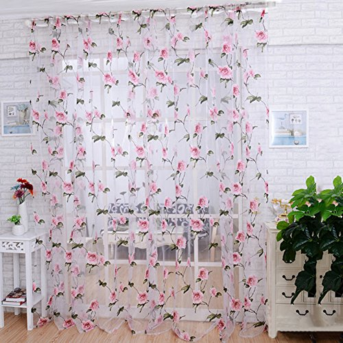 Tüll-Vorhang mit Blumen-Motiv, als Sichtschutz ,Ausbrennergardine für Wohnzimmer, Küche, 100 x 200 cm Rose
