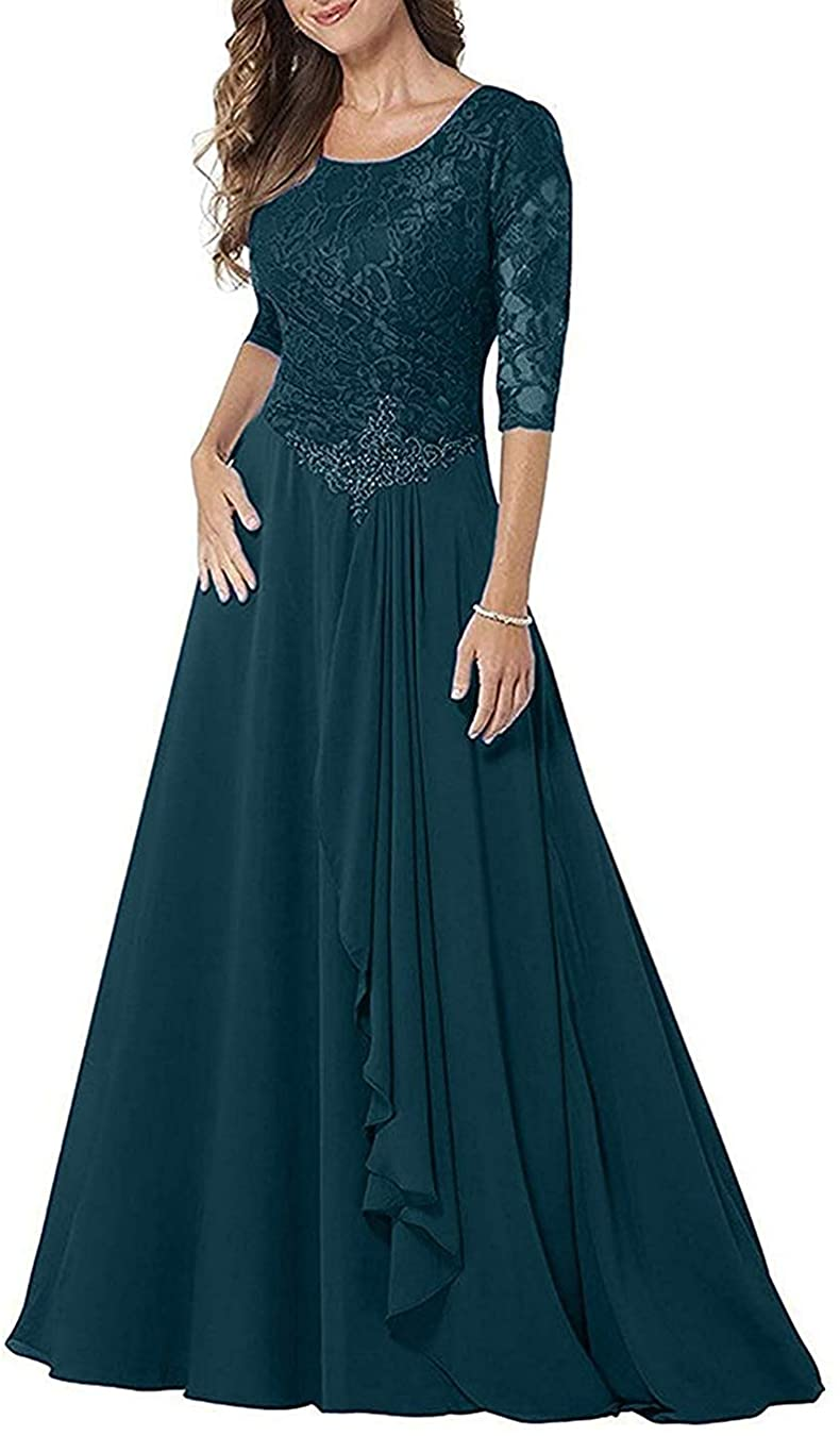 Mother of The Bride Dresses Long Sleeves Formal Evening Gowns Lace Evening Dresses Chiffon Prom Dress