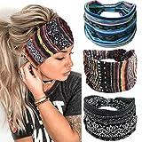 Gortin Boho Headbands Stretch Wide Hair Bands Black Elastic Yoga Sweatband Knoted Turban Headband Cloth Twist Head Wraps Stylish Head Bands for Women and Girls 3 Pcs (Set 1)