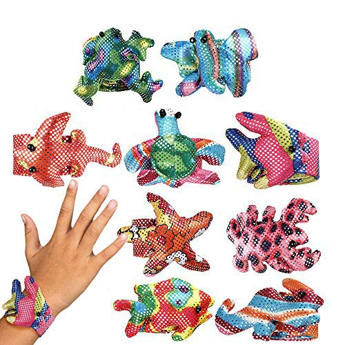 THE TWIDDLERS 12 Snap Bracelets, Slap Wrist Bands for Kids  Adjustable, Durable & Fashionable  Bright Sparkly Animal Design for Boys & Girls  Birthday Party Goodie Bag Favours Christmas Toys Fillers.