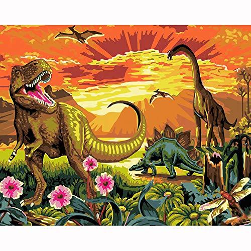 HLH Dinosaurio Cuadro por Numeros Facil 15.6x19.5 Pulgadas Pintar por Numeros Libro para Pintura para Adultos(Sin Marco)