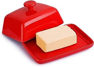 Sweese - Mantequera de Porcelana para Mantequilla (250 g, tamaño Grande), Porcelana, Rojo, Botton