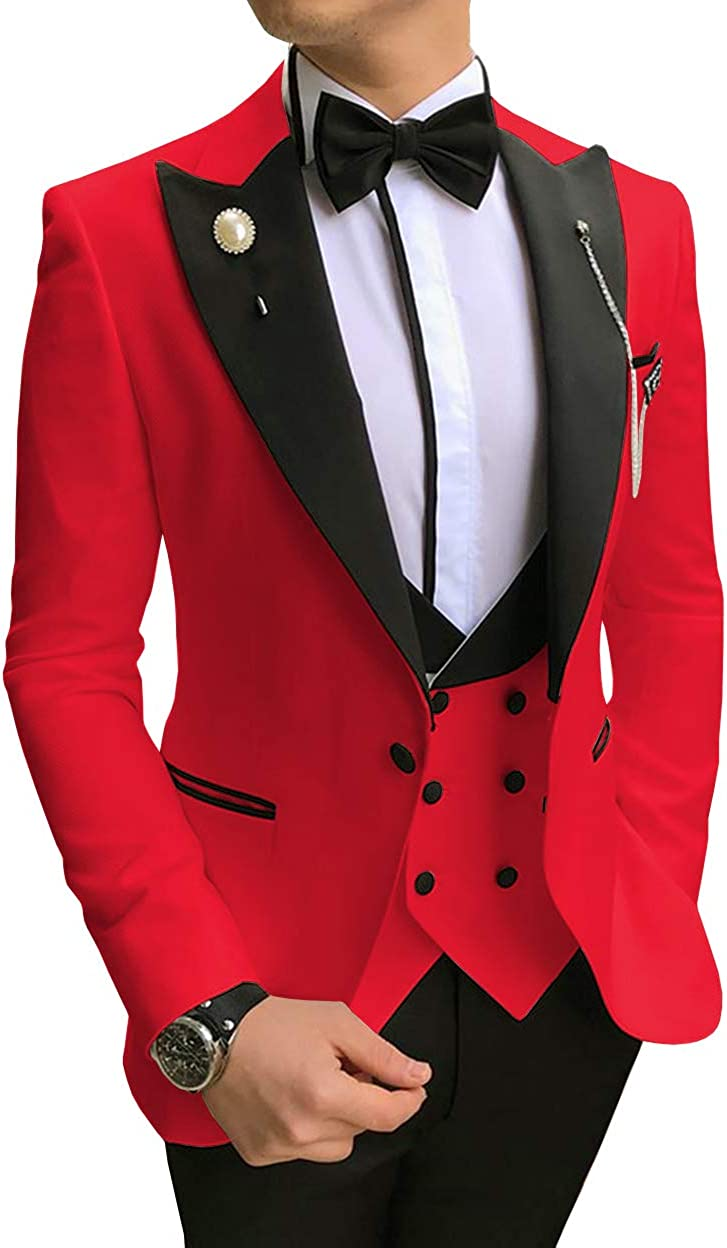 Men's Three Pieces Slim Fit Business Men Suit Formal Groomsmen Tuxedos for Wedding(Blazer+Vest+Pant)