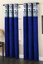 Homefab India Tabla Design Fabric Polyester Eyelet 6 ft Window Curtain-Navy Blue