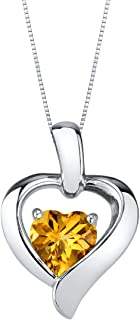 Sterling Silver Heart in Heart Pendant Necklace available in various colored stones