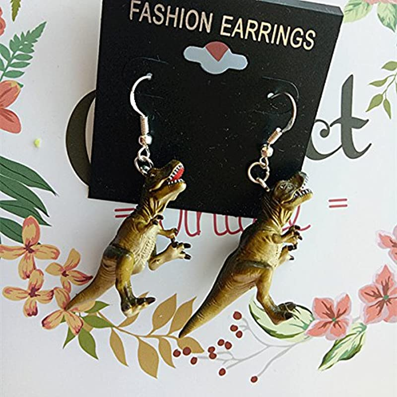 Usongs Funny Dinosaur Tyrannosaurus Rex Wind Earrings Earrings With Silver Hook Fashion Jewelry Earrings Earrings Elegant Women Girls