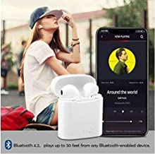 Bluetooth Headphones, i7S Wireless Earbuds Earphones in-Ear for Sport Bluetooth Earphones Stereo Sound 2 Built-in Mic Earphones Noise Cancelling Headset for Workout, Running Gym (Black)