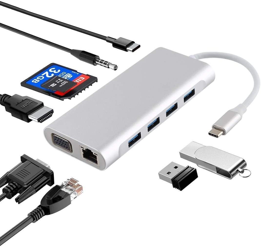GUOXIAOGANG-US 11 in 1 USB Topics on TV C hub to safety USB3.0 Port LAN VGA 4 Type-C
