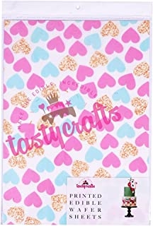 Tastycrafts Printed Edible Wafer Paper Sheets | Edible Cake Decorations | Heart Design Tie Dye Frosting Sheet | Cake Toppe...