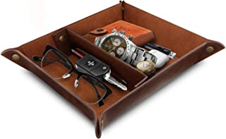 Londo - Leather Tray Organizer - Practical Storage Box for Wallets, Watches, Keys, Coins, Cell Phones and Office Equipment, Brown, 7. 87 x 9. 44 x 1. 96 inches (OTTO200)