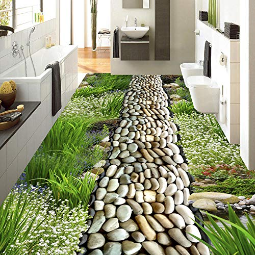 Papel tapiz autoadhesivo personalizado para pisos, papel tapiz 3D con flores, césped, adoquines, estilo pastoral, pisos en 3D, PVC, pintura de pisos a prueba de agua, mural, foto personalizada, mura