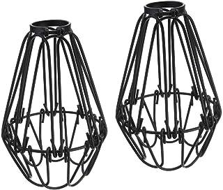 Lot de 2 suspensions en forme de cage métallique réglable Style industriel Style Edison Noir