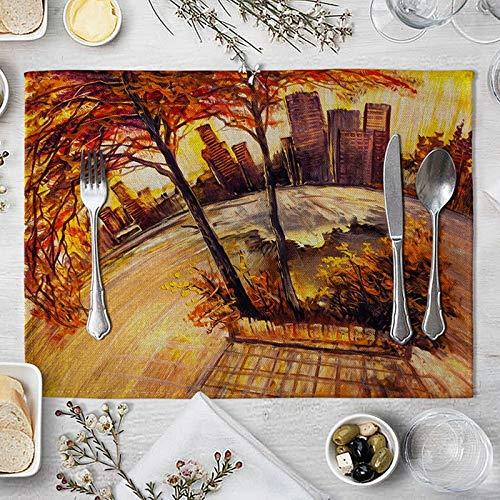 ANAZOZ Decoraciones de Mantel Individual de 4 Árboles y Casas Mantel Individual Tela Lavable Naranja Mantel Individual 40x30cm