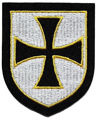 ecusson Chevalier templier Crucifix Croix Malte Fleur lys catholique Bouclier 7,5x6,5cm chretien Biker Top Qualite