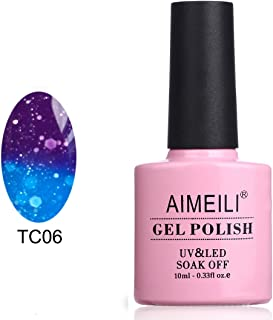 AIMEILI Soak Off UV LED Temperature Colour Changing Chameleon Gel Nail Polish - Glitter Purple to Glitter Blue Full Shimmer/Diamond (TC06) 10ML