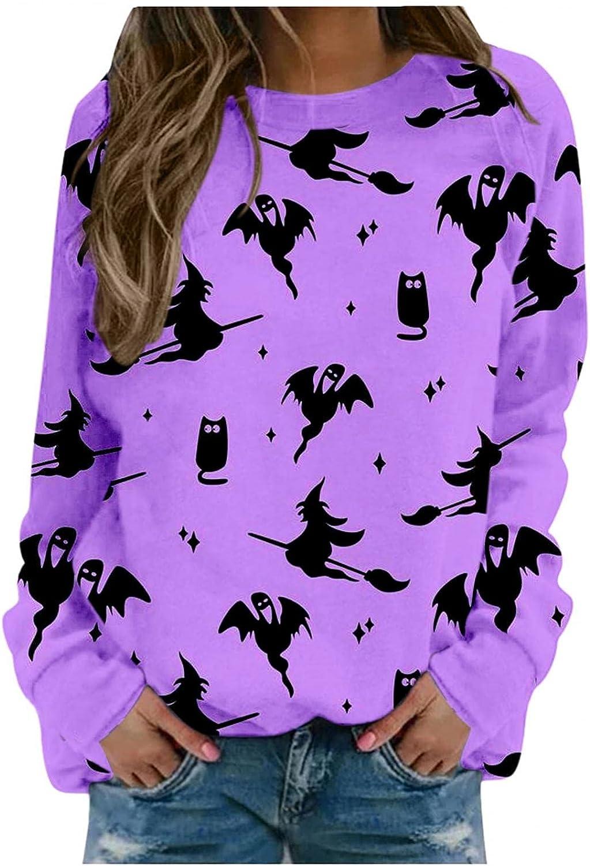 Haheyrte Crewneck Sweatshirts Womens Halloween Pumpkin Bats Print O Neck Pullover Tops Casual Long Sleeve Shirts Sweaters