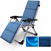 High-quality recliner Deckchair Sun Lounger Outdoor Zero Gravity Sun Patio Lounger, Recliner for Beach Garden Camping with Cushions Folding Lounge Chair Support 200kg (Color : Blue)